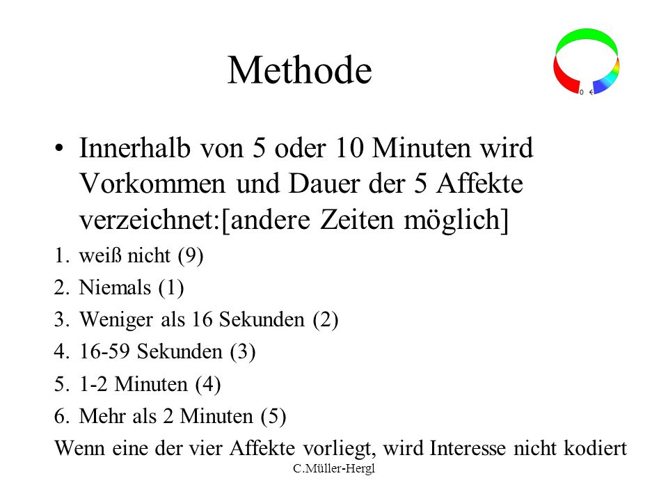 Methode Innerhalb von 5 oder 10 Minuten wird Vorkommen und Dauer der 5 Affekte verzeichnet:[andere Zeiten möglich]